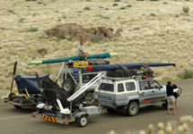 Travelling through Namibia with the four-wheel drive vehicles and the microlights