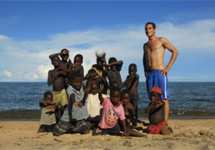 The local children love playing football after school on the beach with the volunteers