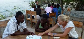 Nikki teaching health topics at Mwaya Beach