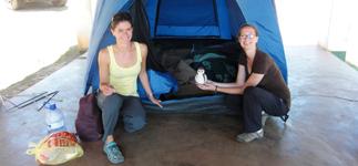 Fellow volunteers Linda and Caitlin at Nyika