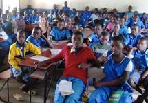 Tara with the Standard 8 class at Mwaya Primary School