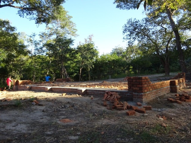 The foundations of the new classroom block...