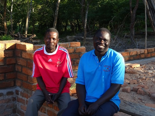 Two of the builders, Andrew and George