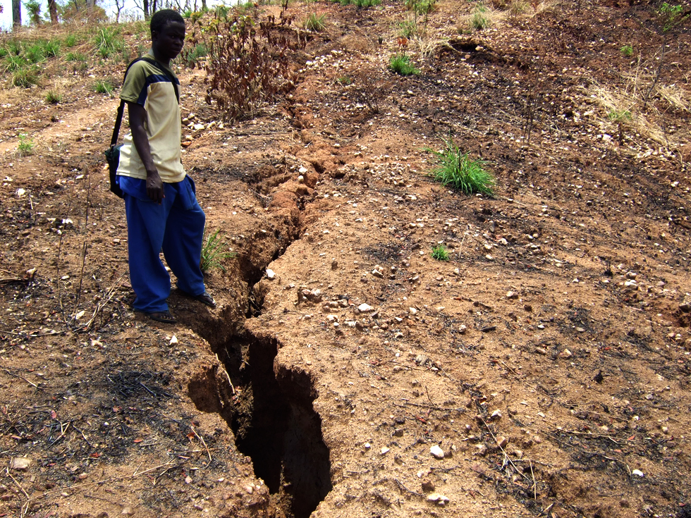This is an example of gully erosion due to deforestation