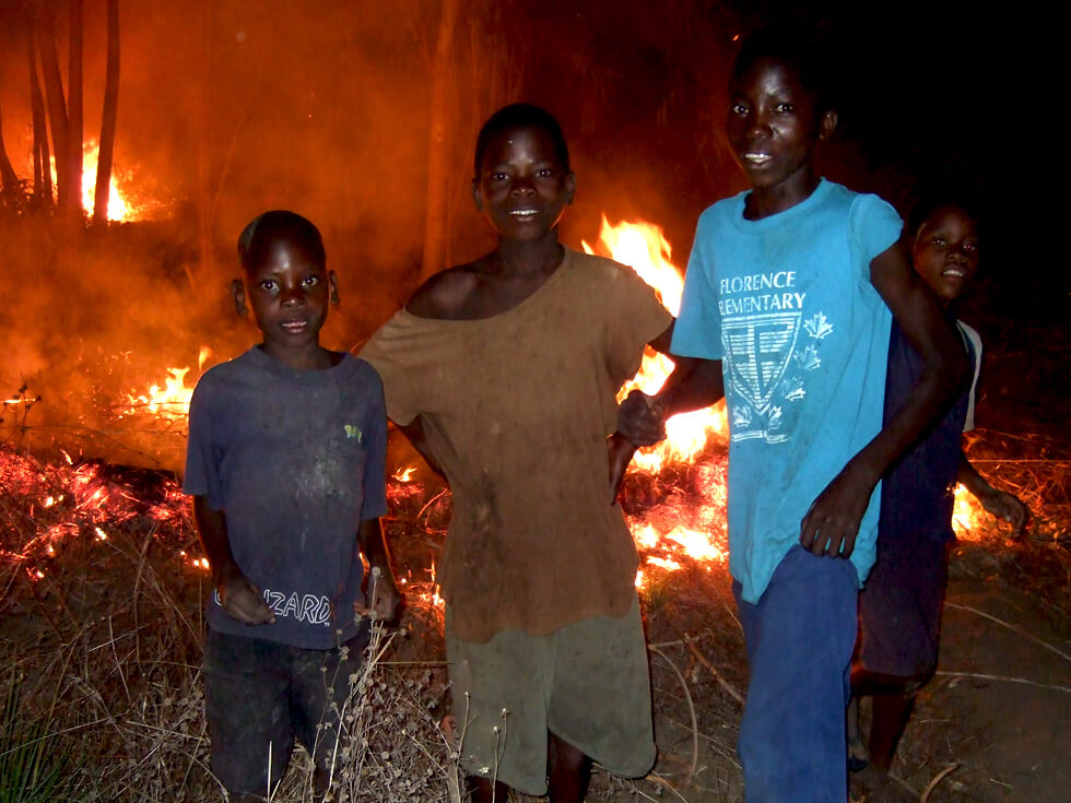 Young children regularly start bush fires in the dry season for fun