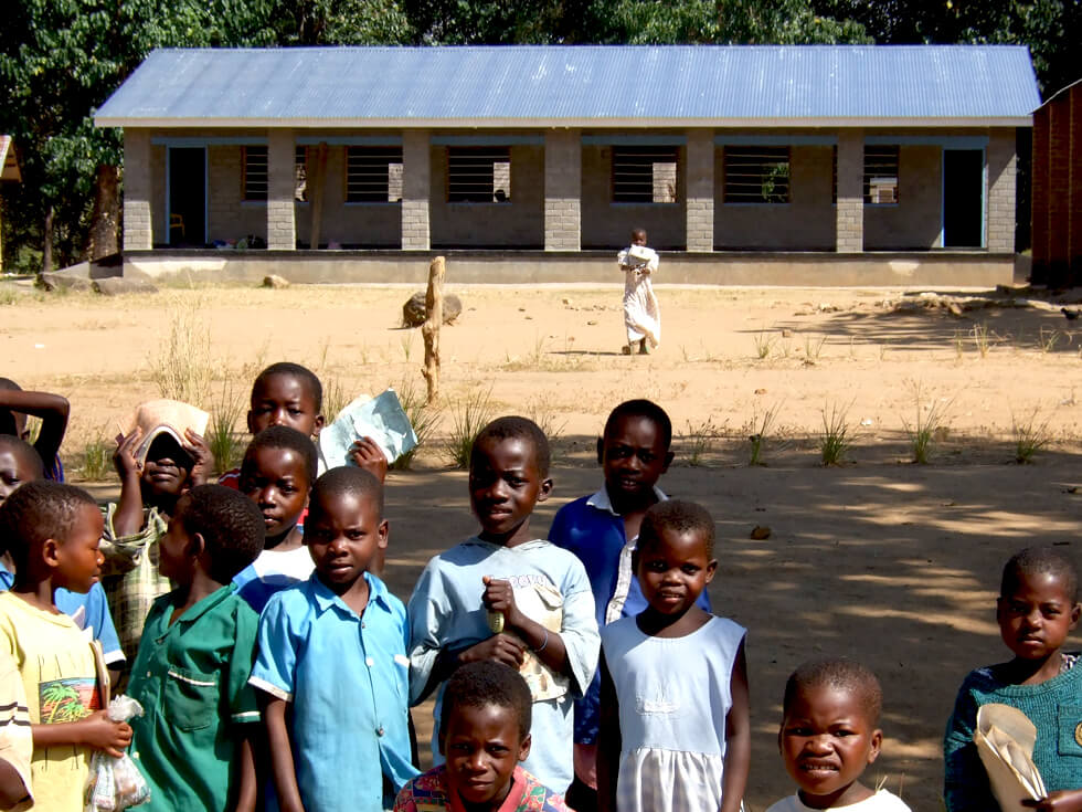 A new double classroom block at Mwaya Primary School built by RIPPLE Africa