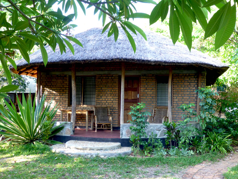 The thatched guest chalet at Mwaya Beach