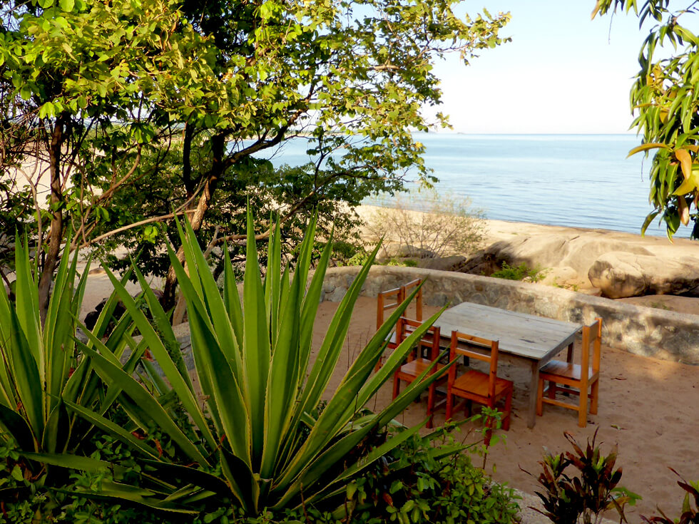 A view of the beach and the sundeck