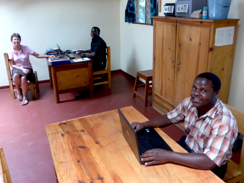 The office at Mwaya is the base for Morton and Dan