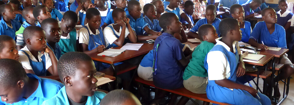 Class sizes at primary school can reach up to 150 pupils