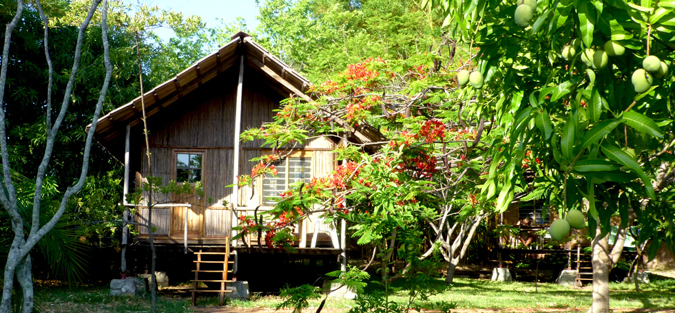 One of the four chalets for volunteers at Mwaya Beach