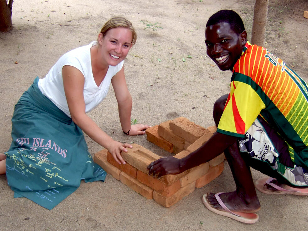 Lauren carrying out trials on the Changu Changu Moto fuel-efficient cookstove