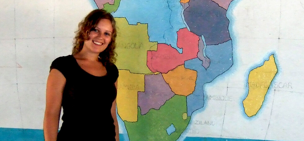 Kirsten painted a large map of Africa on the wall of one of the classrooms at Mwaya Primary School when she was a volunteer teacher