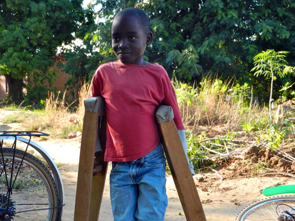 The crutches will help this youngster to recover from his recent operation