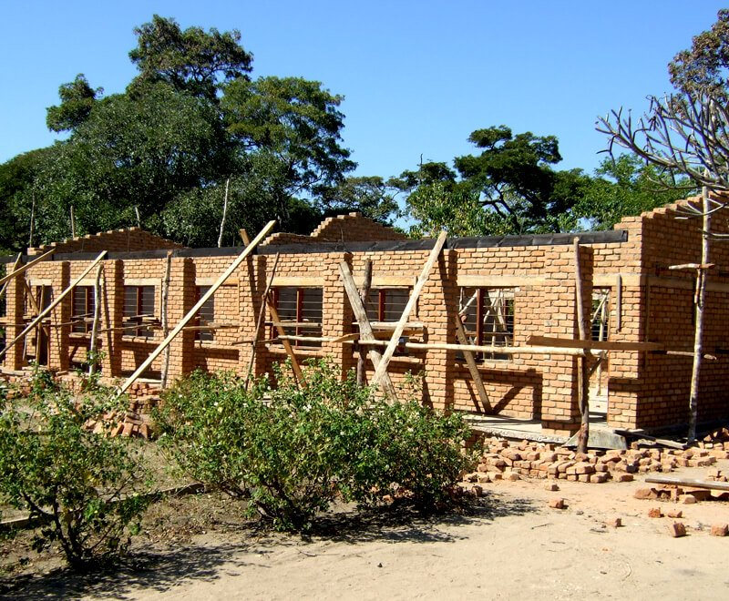 A new classroom being built at a primary school in Malawi