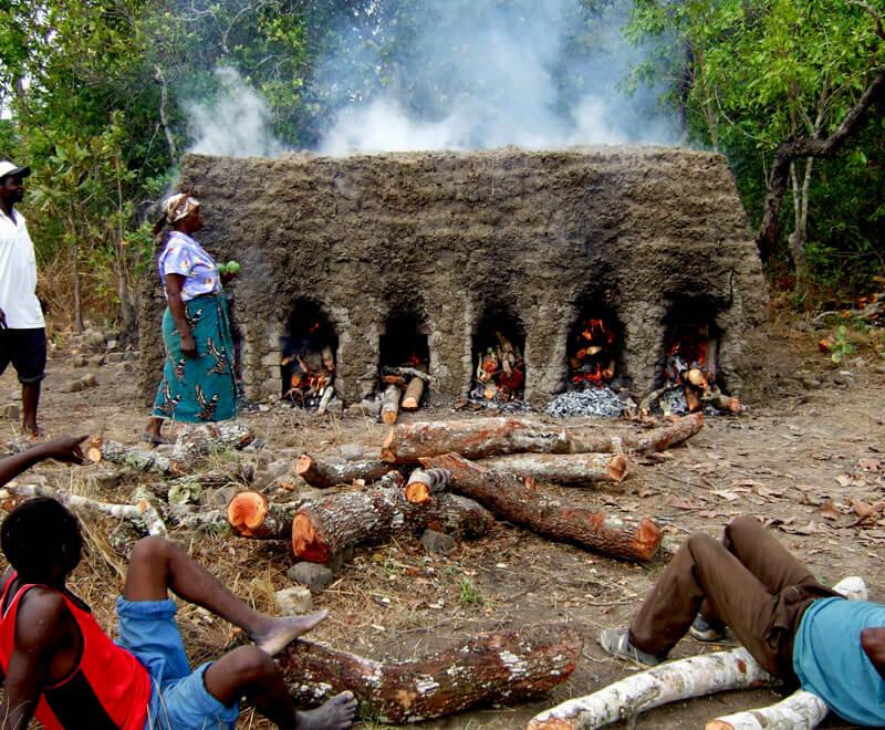 Burning bricks in Malawi