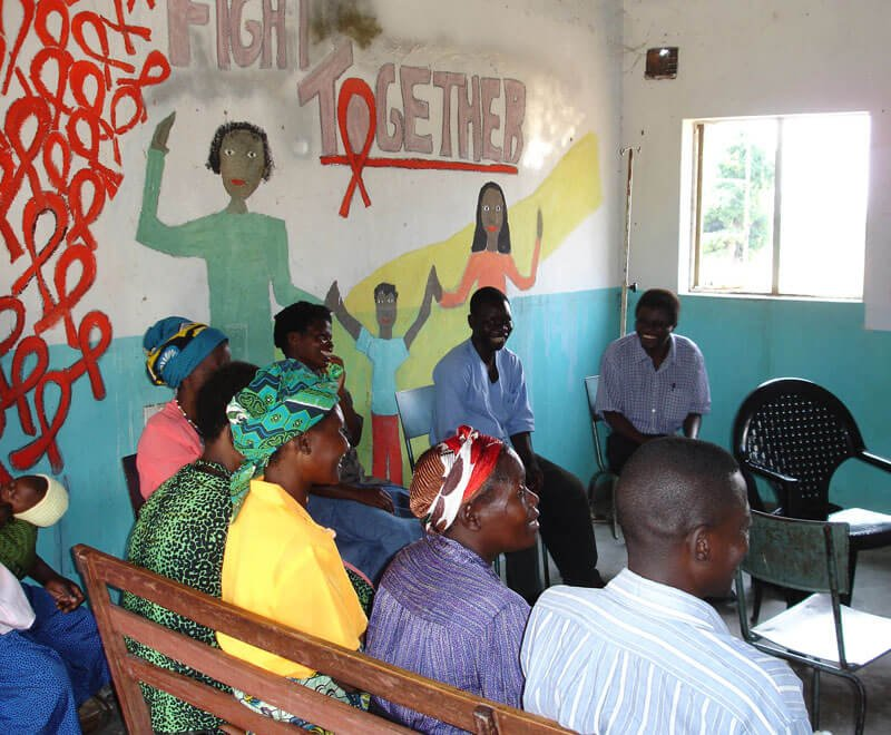 HIV support group meet at a local health centre in Malawi