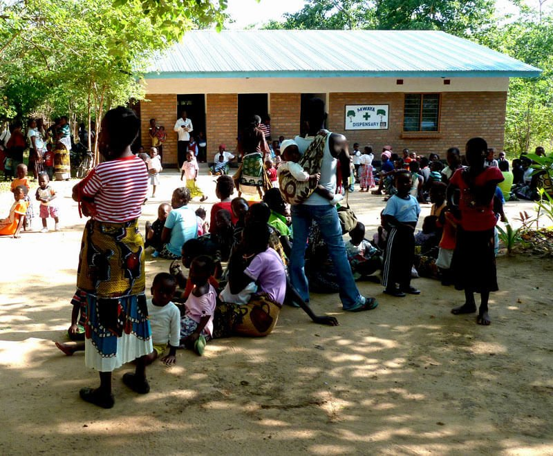 Villagers waiting at Mwaya Dispensary