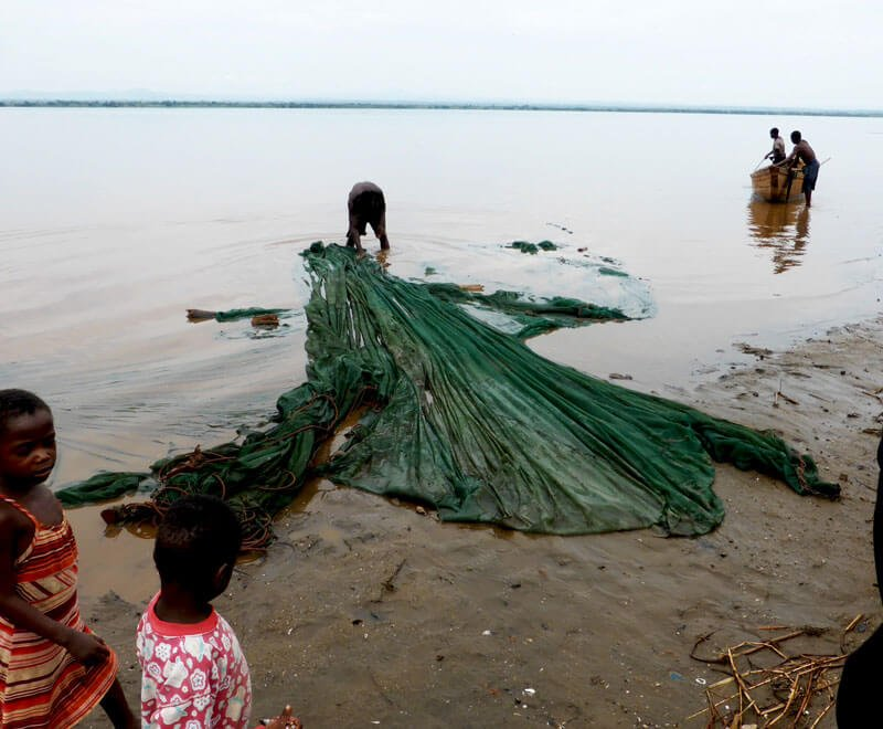 Mosquito nets used for fishing Malawi