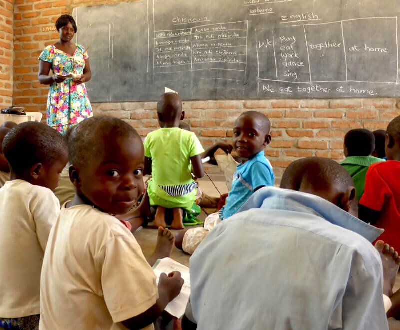 Children learning in a primary school in Africa