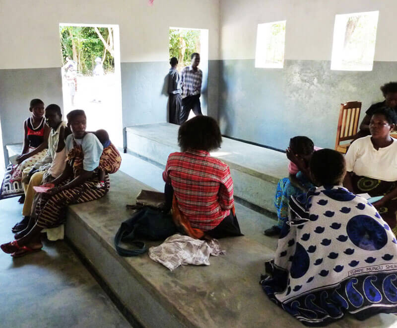 Patients wait their turn at Mwaya Dispensary in Malawi