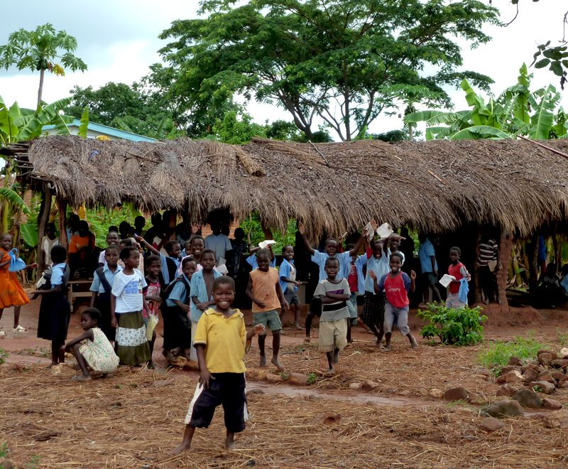 Primary education in Africa has challenges like this makeshift classroom