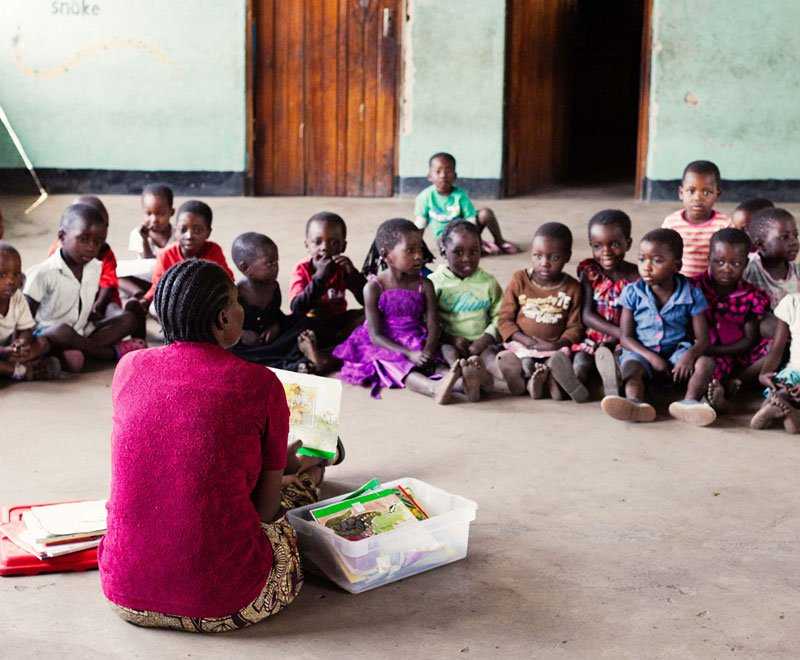 Reading time at a preschool in Malawi