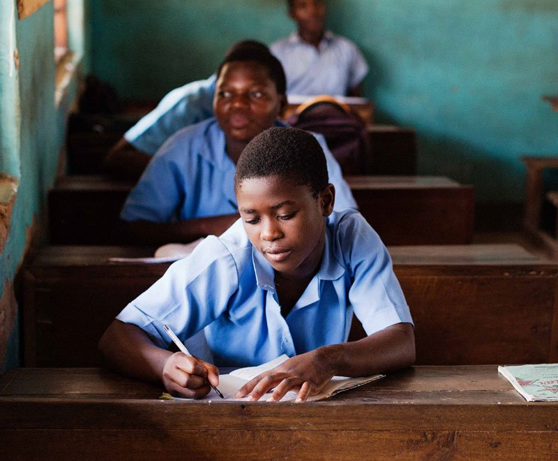 A student in secondary school education in Africa