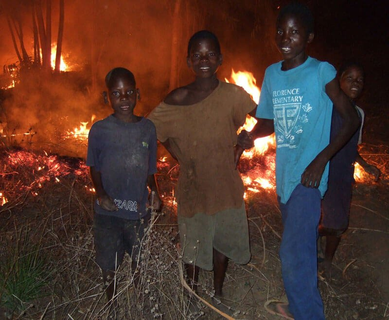 Land clearing with fires Malawi