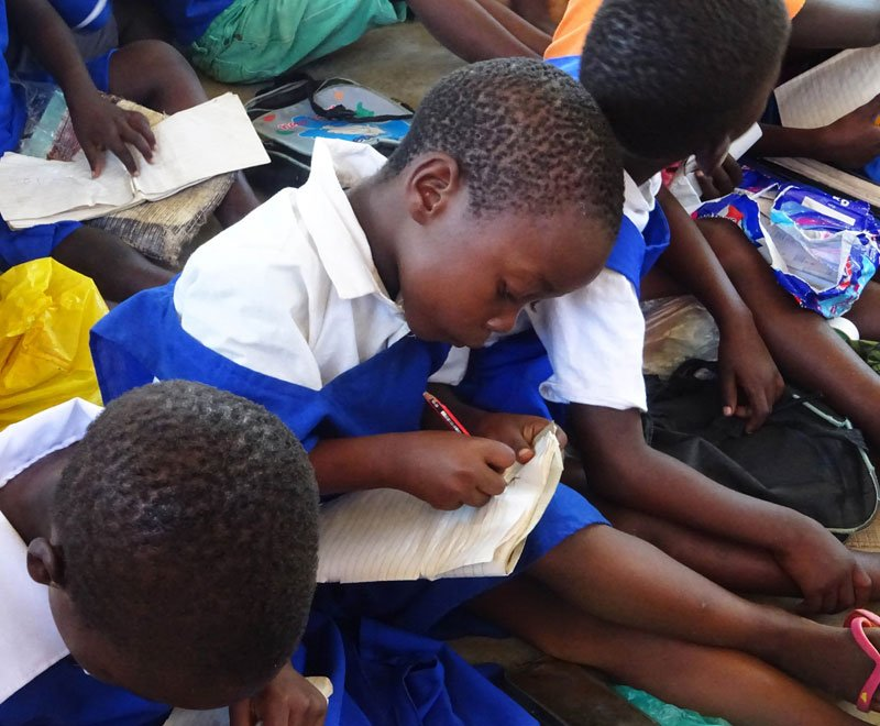 Primary school student writing during a class in Malawi