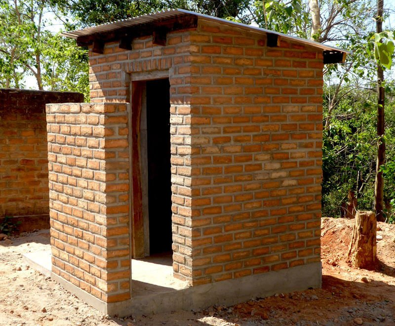 A newly built toilet at a primary school in Malawi