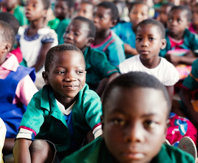 Primary school student in class in Malawi