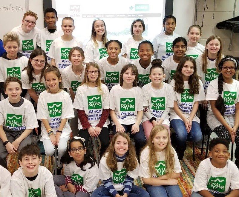Group of school children fundraising for Ripple Africa