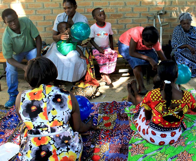 A disabilities and rehabilitation group taking place in rural Malawi