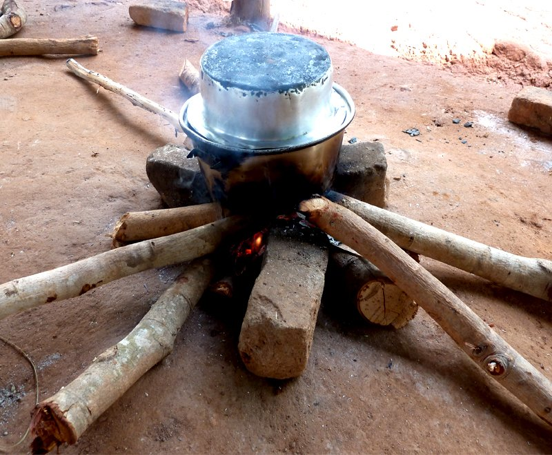 A traditional three stone fire in Malawi