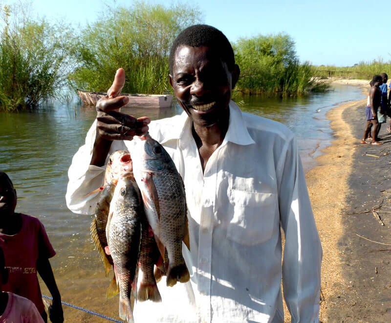 Fish Conservation Committee member holding up fish in Malawi