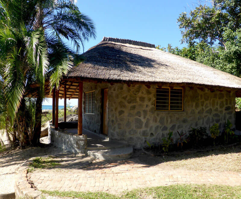 Beach chalet looks over Lake Malawi