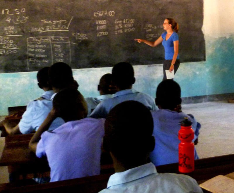 Volunteer teaching at secondary school in Africa
