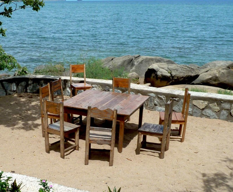 Dining area for volunteers overlooking the lake in Malawi
