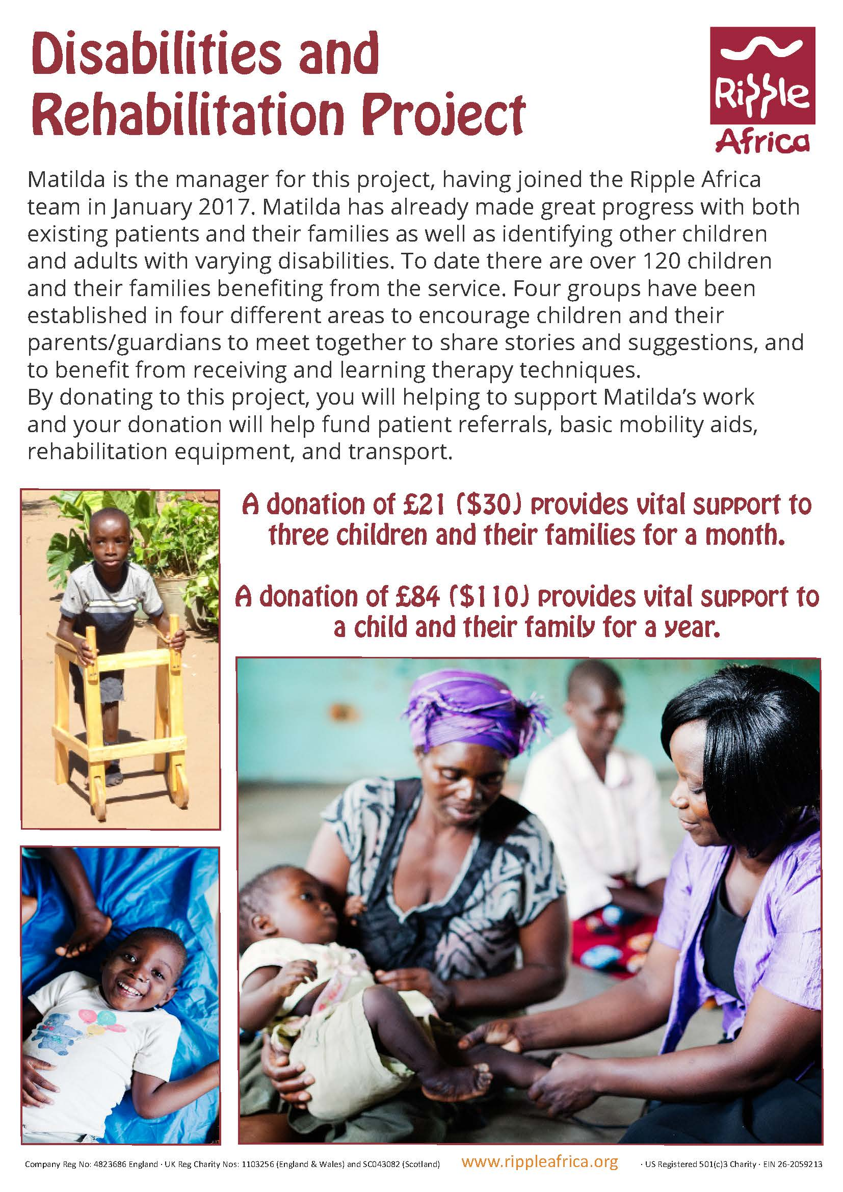 Donating to support a disabilities project in Malawi