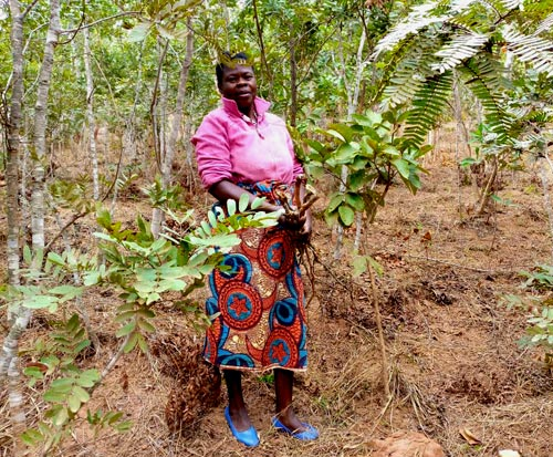 Kenesi in the forest in Malawi which she protects