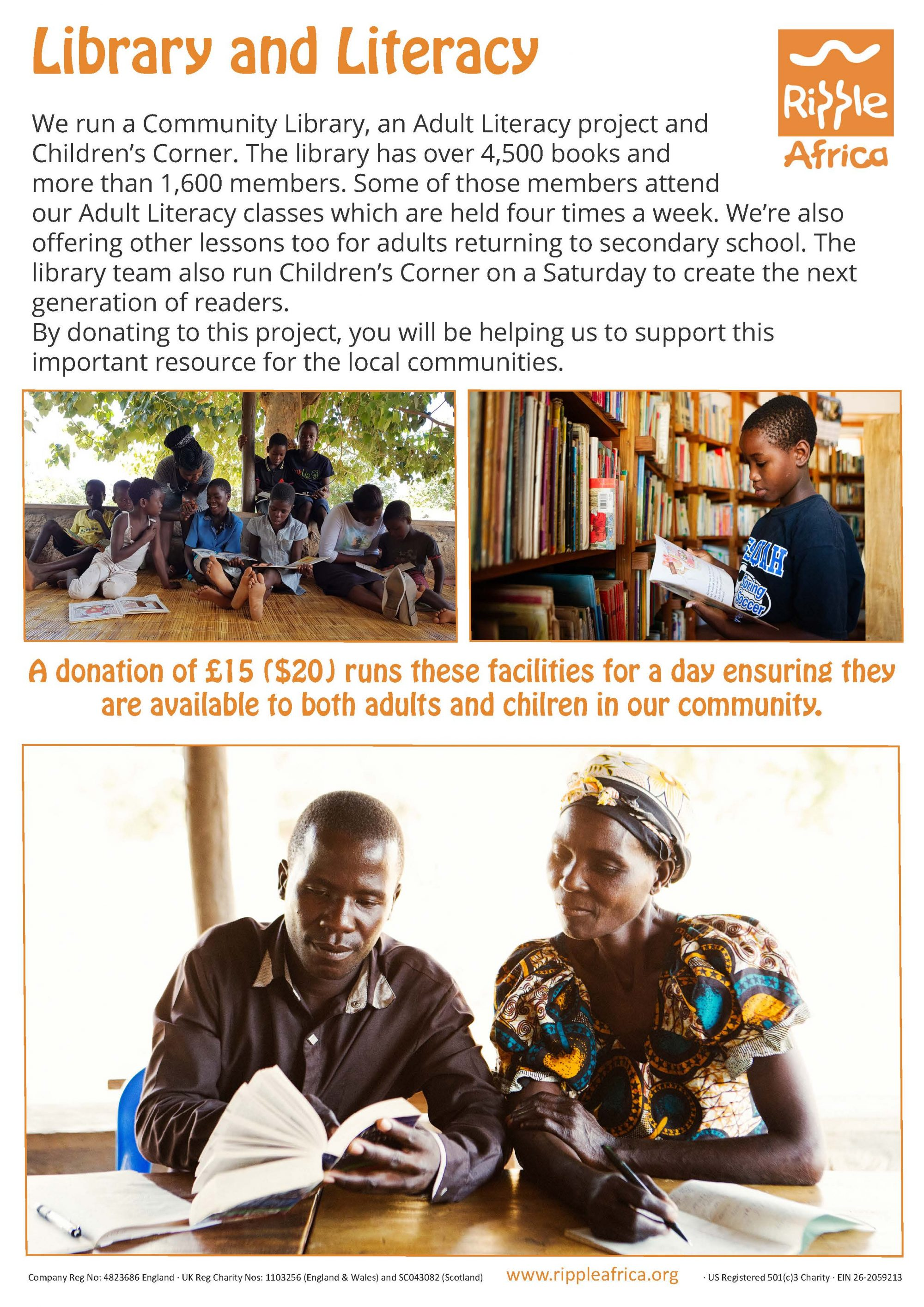 Donating to help adults learn to read and write in Africa