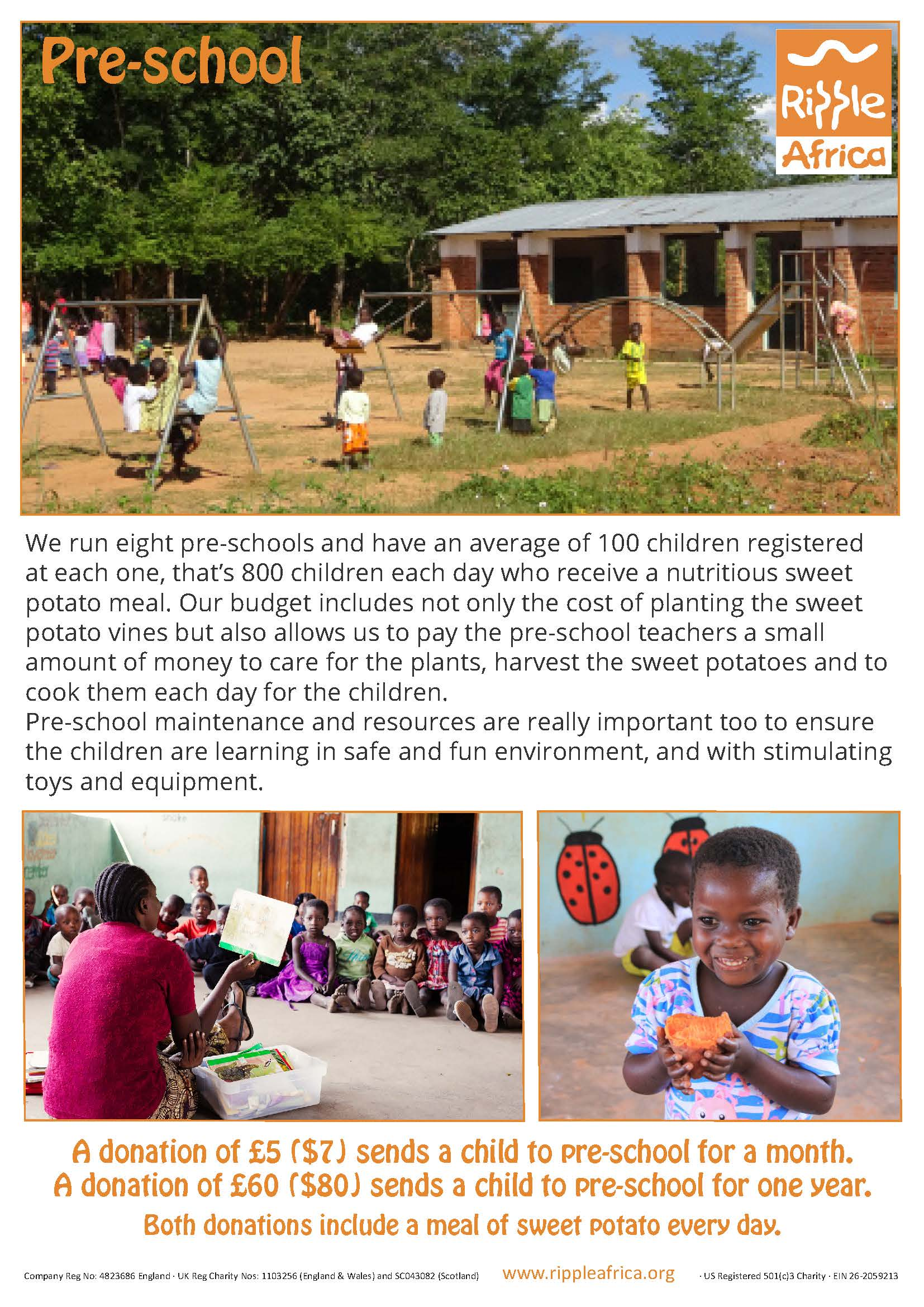 Donating to a pre-school in Africa